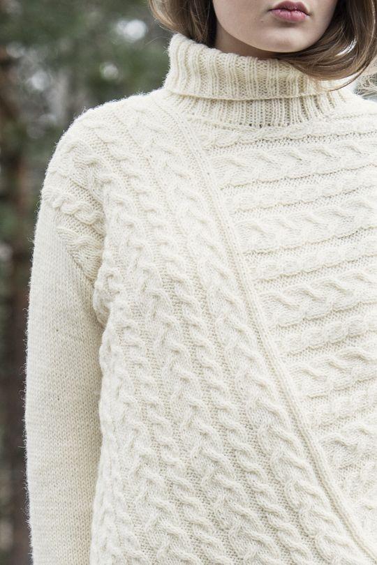 Flätstickad damtröja Novita Nordic Wool   Novita knits