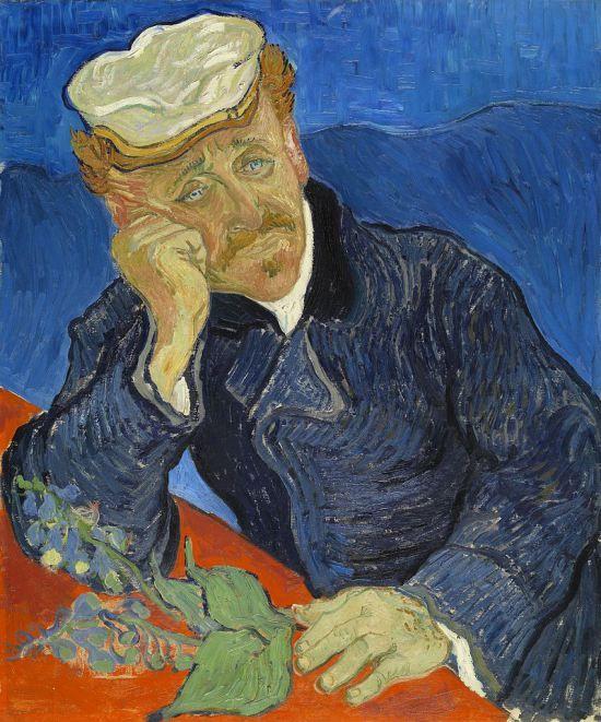 Vincent van Gogh (1853-1890). El doctor Paul Gachet (1890). Museo de Orsay, París  Encontramos un hombre solo y amargado, sus rasgos nos indican vejez y tristeza, los colores de fondo ayudan a mantener la concentración en el personaje y no en lo demás.