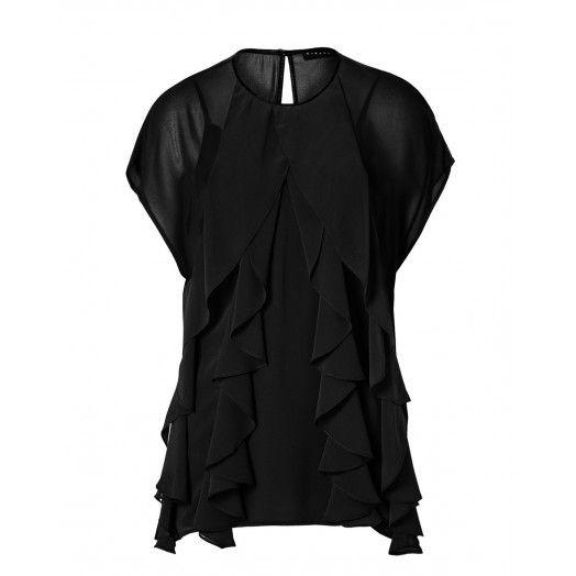 Camicia in georgette, maniche corte, collo rotondo, con volant davanti, profilo collo e goccia dietro in eco-pelle, canotta in satin. 5HL05Q0N6 BLACK