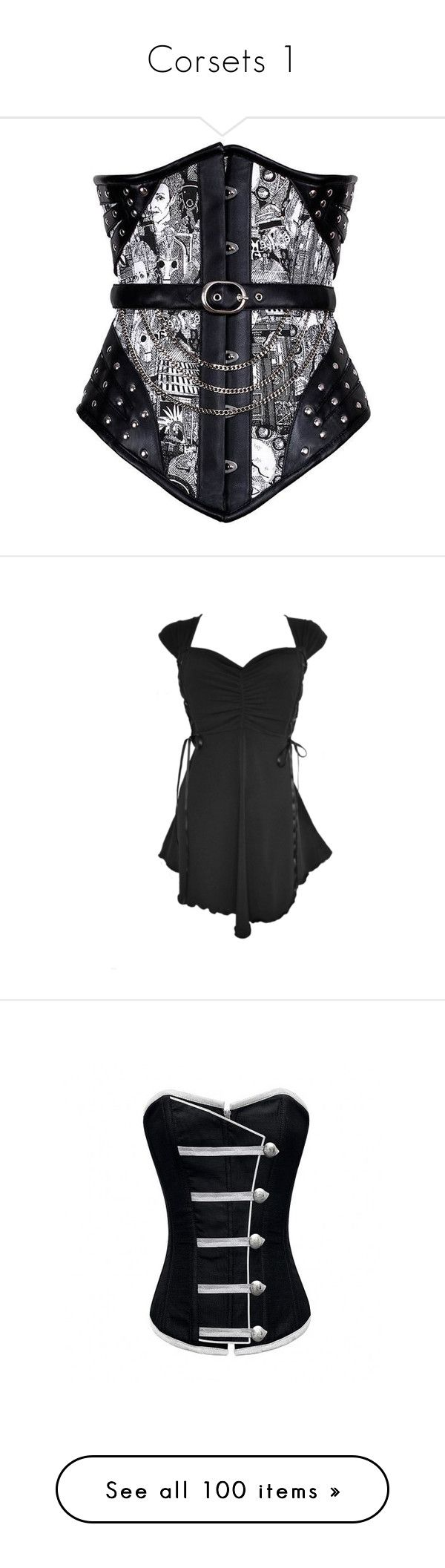 """""""Corsets 1"""" by xblackbettyx ❤ liked on Polyvore featuring intimates, shapewear, corsets, tops, dresses, shirts, plus size gothic corsets, plus size corsets, goth shirts and gothic corset top"""