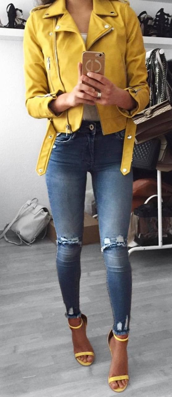 denim and yellow_moto jacket + rips + heels