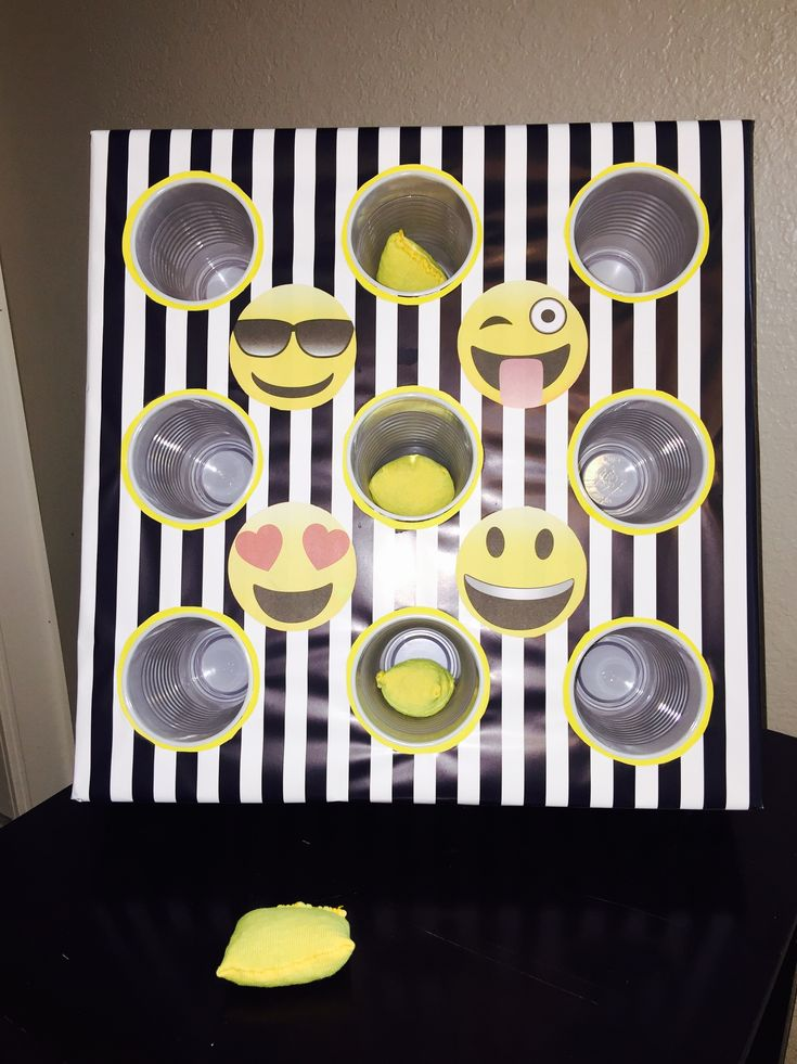 Emoji bean bag toss  Cardboard box and disposable cups. Under $4 to make.