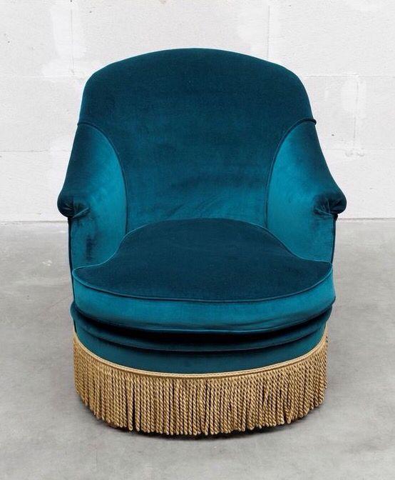 petrol blue velvet armchair w/ fringe