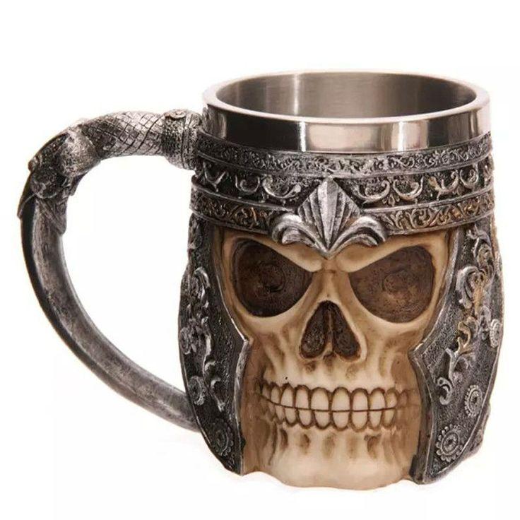 3dバイキング頭蓋骨ビールマグ打撃スカル戦士ジョッキゴシックヘルメット箸置き容器コーヒーカップクリスマスギフト付きパッケージ