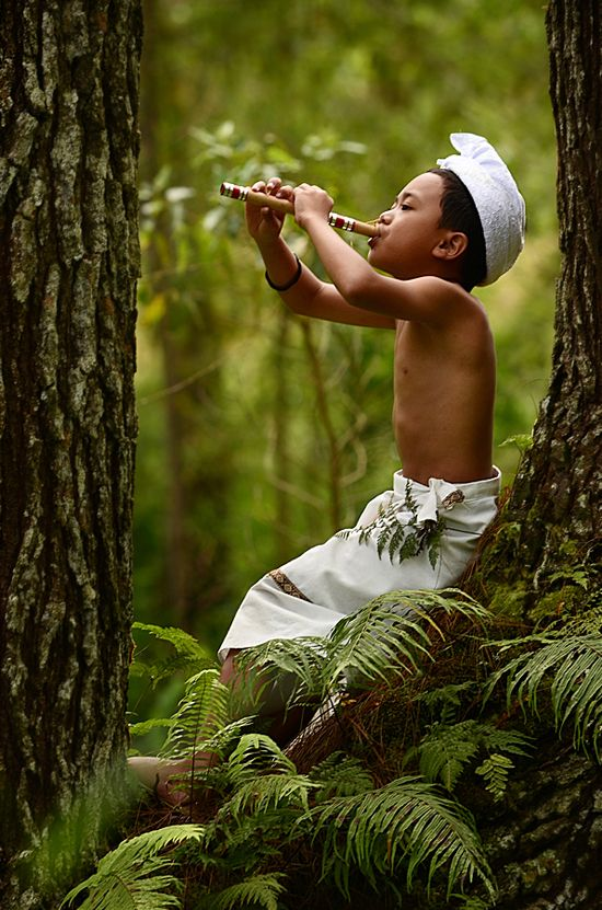 Music  everywhere... Indonesia boy in the forest