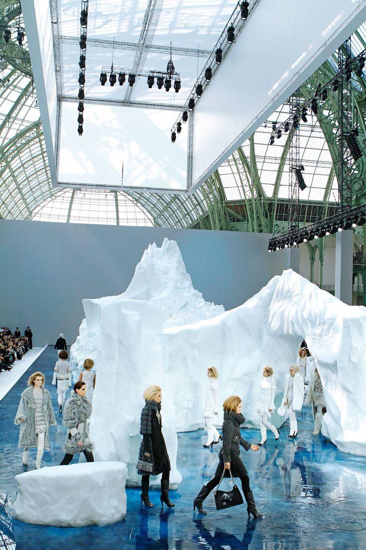 Models walk among icebergs at the Fall 2010 show.   - HarpersBAZAAR.com