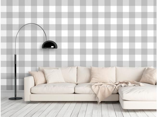 Tapeta Desen Szara Krata Furniture Home Decor Decor