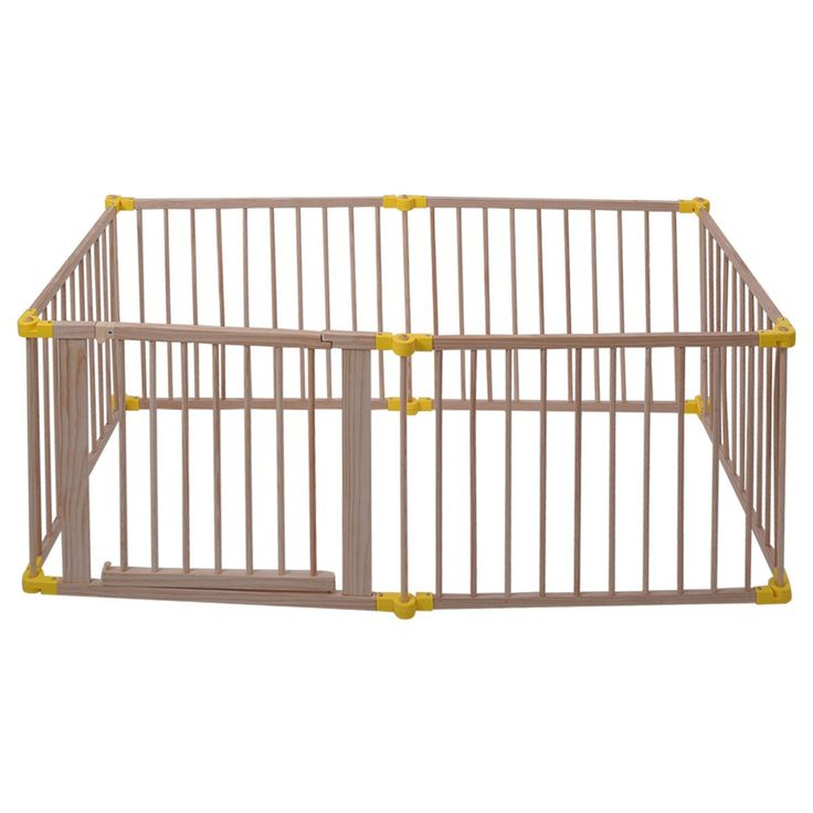 Baby Playpen 6 Panel Foldable Wooden Frame Kids Safety Play Fence In/Outdoor - Play Yards - Baby Toys & Activity Equipment - Baby & Toddler - Others