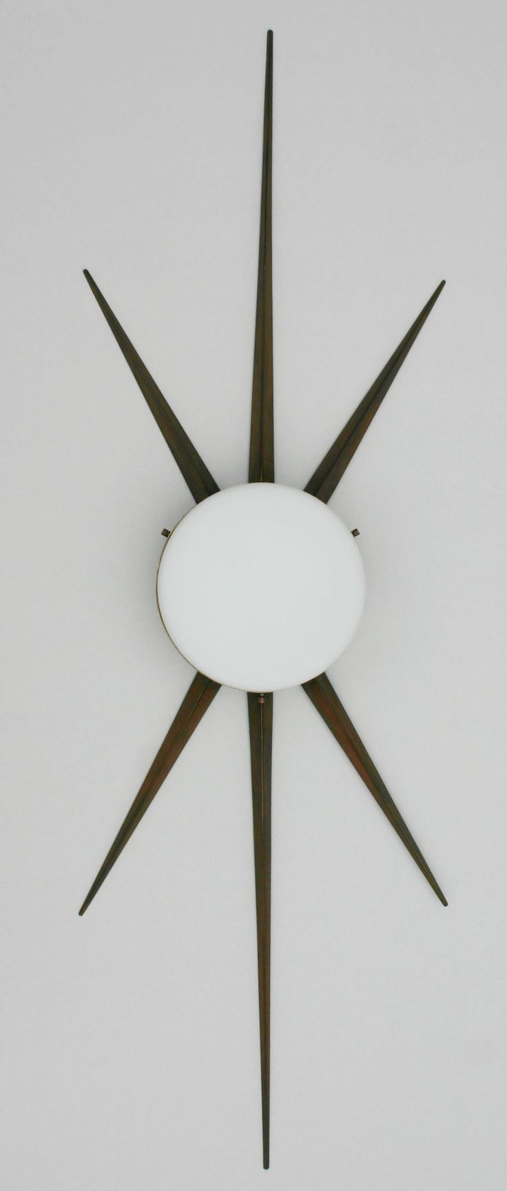 Gio Ponti Attributed; Bronze, Brass And Milk Glass Wall Light For  Arredoluce, C1950