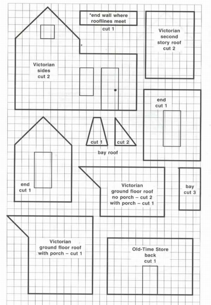 A couple of ginger bread house patterns, including dormer window and chimney pattern.