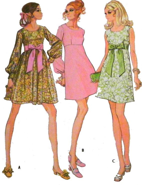 1960s Babydoll empire High Waisted Dress pink green floral cocktail day dinner sewing pattern by retroactivefuture, $12.00