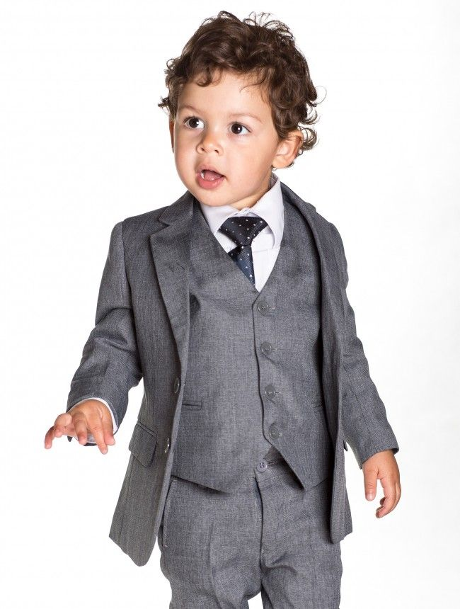 Baby boys grey slim fit suit