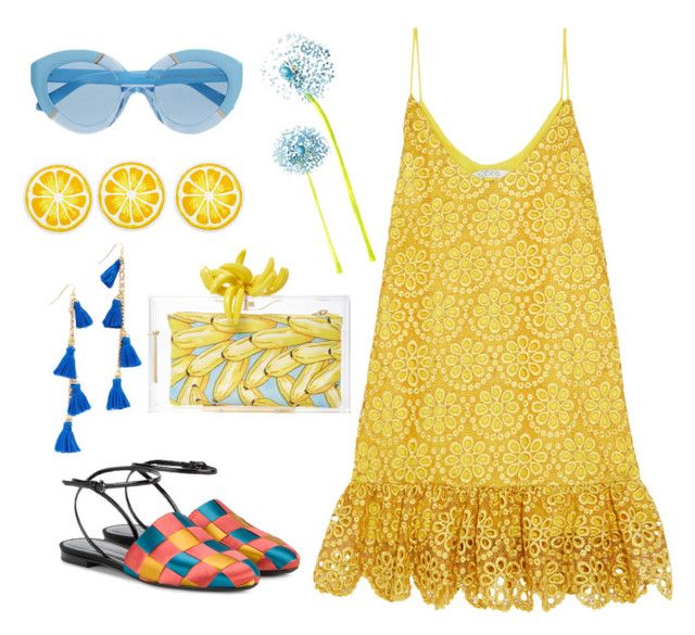 """yellow&blue"" by emiliamariaa on Polyvore featuring Alexis, Vanessa Mooney, Karen Walker, Marco de Vincenzo, Charlotte Olympia and Nordstrom Rack"