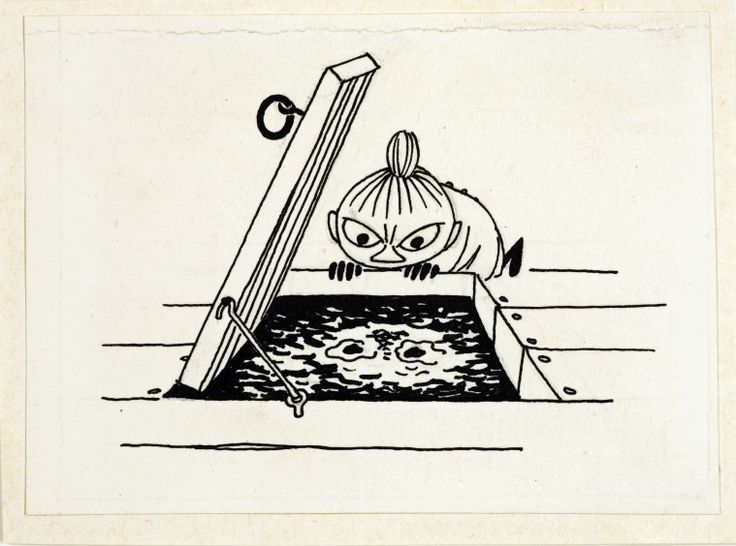 Little My glares at her reflection -- Moominsummer Madness: by Tove Jansson