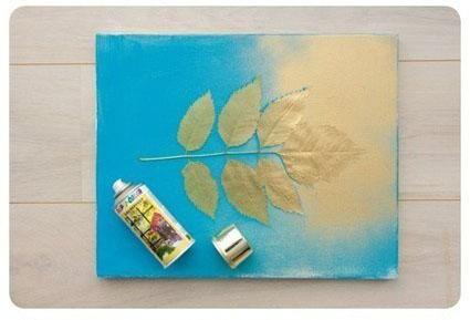 旧瓷砖再利用,DIY树枝落叶拓印装饰画