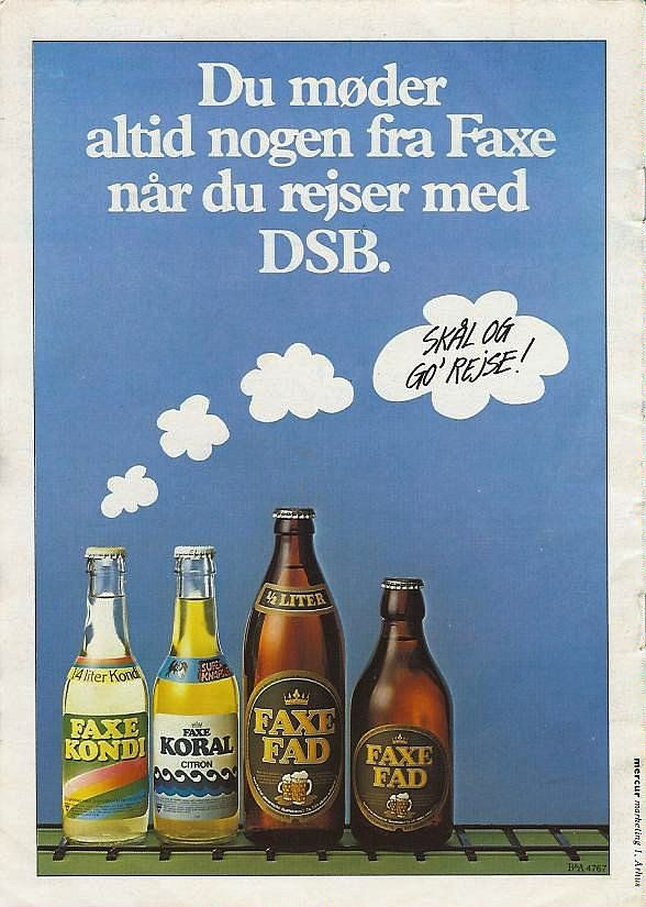 Faxe advert from 1980s (?): in combination with an old DSB (Danish train service) advert