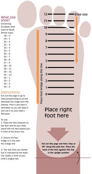 16 Best Shoe Size Charts Images On Pinterest | Shoe Size Chart