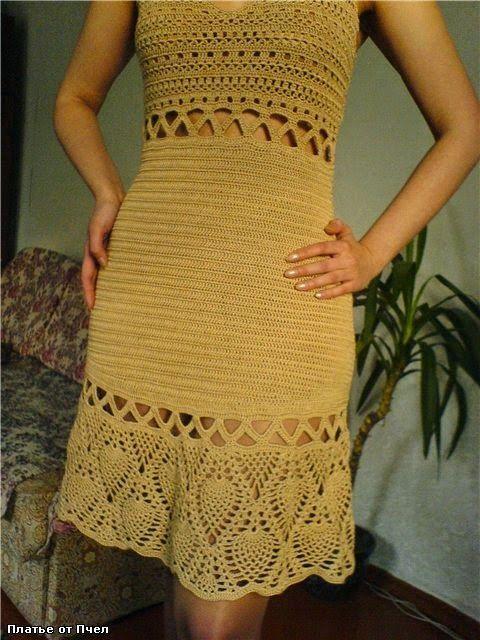 Chorrilho de ideias: Vestido amarelo mostarda em crochet com esquema