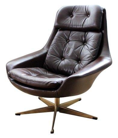 Fauteuil danois en cuir marron foncé de H. W. KLEIN - années 60