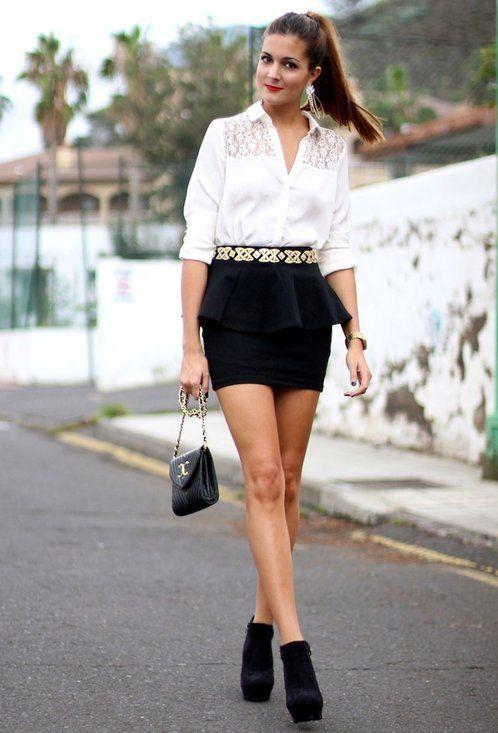 Peplum Skirt  , Blanco en Camisas / Blusas, Zara en Faldas, Vintage en Bolsos, Calzados Denia en Botines, Zara en Cinturones, H en Otras joyas / Bisutería