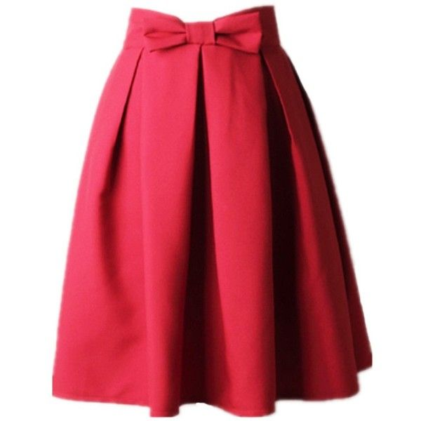 Women's A Line Pleated Vintage Skirt High Waist Midi Skater with Bow... ($19) ❤ liked on Polyvore featuring skirts, high waisted a line skirt, red high waisted skirt, red midi skirt, midi skater skirt and high-waisted skater skirts