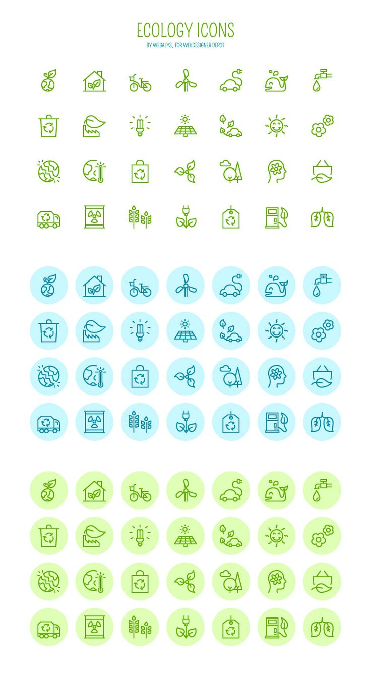 Cute ecology-related icons. They are simple, yet they express a clear idea. For example, the car with the cord represents a hybrid/electric car. the color scheme also works well with the theme. The blue and green seem to represent nature and harmony.