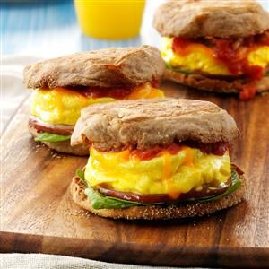 Microwave Egg Sandwich Recipe -If you're looking for a grab-and-go sandwich, this is high in protein, low in fat and fills you up. Plus, it's only about 200 calories! —Brenda Otto, Reedsburg, Wisconsin