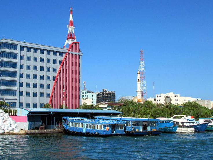 Passenger ferries between Villingili and Male islands in the Maldives depart from a terminal in the southwest corner of Male.