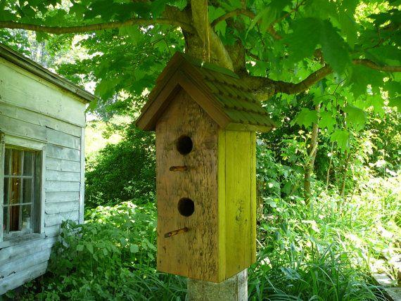 Two Family Bird House from salvaged barn siding... via Etsy
