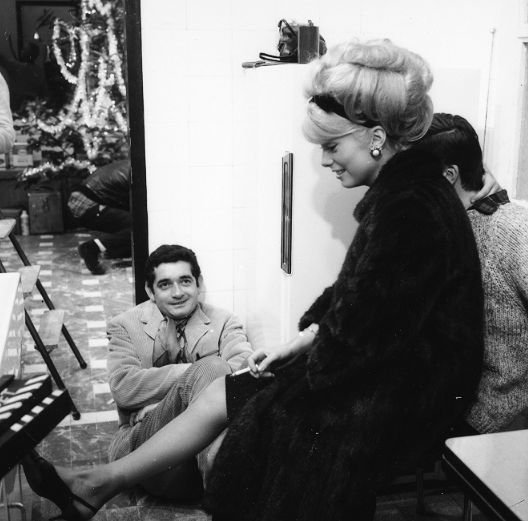""""""" Catherine Deneuve and Jacques Demy behind the scenes of The Umbrellas of Cherbourg (1964) """""""