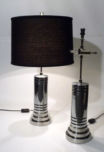 PAIR-OF-ART-DECO-BAUHAUS-NICKEL-CHROME-CYLINDER-FORM-TABLE-LAMPS-LIGHTS