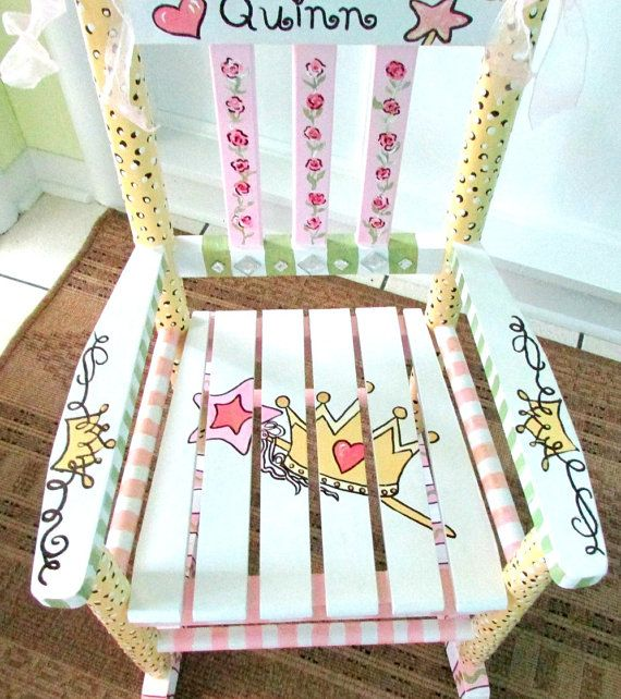 painted child rocking chair painted custom made by whimsyburd