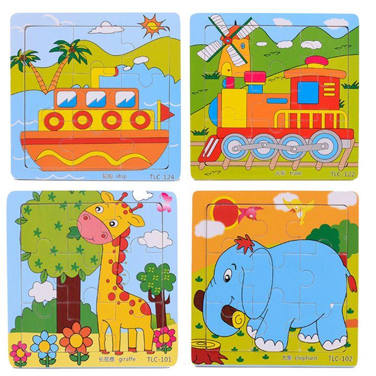 3d educativos de madera rompecabezas juguetes libre del bebé niños de juegos de rompecabezas para niños de dibujos animados juguetes educativos de aprendizaje