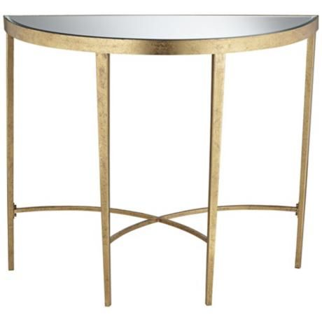 Amelia antique gold demilune console table 30 high but for Small metal console table