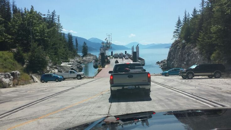 Galena bay ferry south of revelstoke ,20 mins to cross,  nakusp, hills, then New Denver
