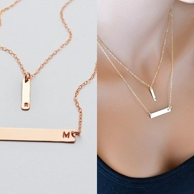 Rose Gold Bar Necklace, Layered Necklace, Initial Necklace, Personalized Jewelry, Double Strand Necklace