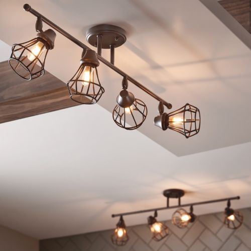 Rustic-Track-Lighting-Kit-4-Fixture-Industrial-Old-Bronze-Dimmable-Easy-Install