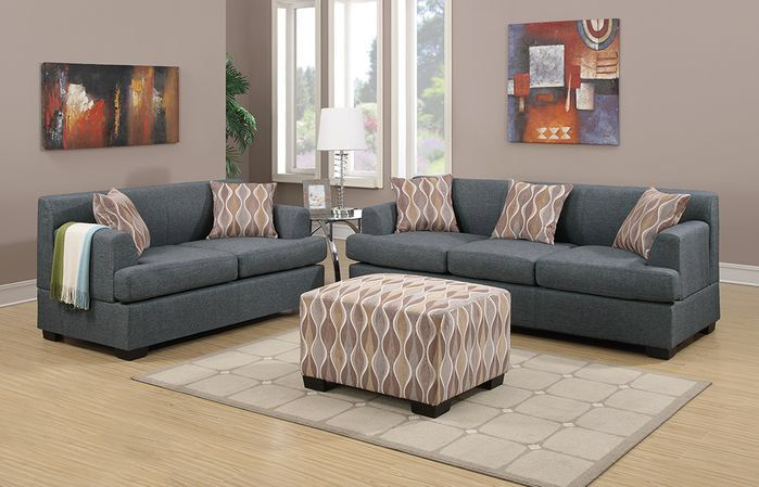 Amia 2 Piece Living Room Set Comfortable Sectional Sofa Couch And Loveseat Blue Couch Living Room