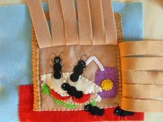 Picnic basket weaving page, with cute ants eating the picnic food inside