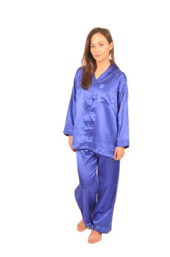 Womens Blue Satin Classic Pajama Set