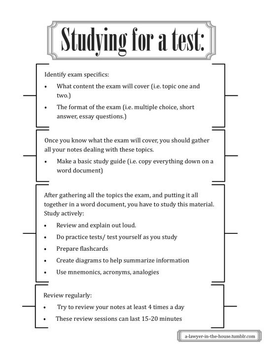 .This guide to helping me study for a test because in high school I was able to get good grades without studying. This helps break it down so it is not such a cram at information at once but rather a little bit of information as I review. Plus the review of the material over and over leading up to test will help me remember better.