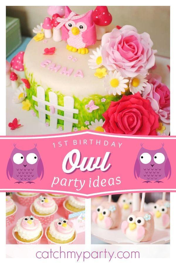 Fantastic Buhita Rosa Blanco Y Menta Birthday Emmas Owl Themed 1St Birthday Cards Printable Riciscafe Filternl
