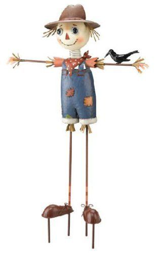 Scarecrow Garden Stake by Garden Fun. $44.95. Fun garden figureHand-painted metal20 x 32.75 x 8 inches. He?ll put on a good face, but it you?re looking to shoo anything out of your vegetables or flowers, we rather doubt this scarecrow garden stake is going to do it.  He?s far too much fun to be frightening, and his spring-mounted head will nod in agreement with that.  A traditional country figure that brings a touch of rural charm to your lawn or garden.  Hand-painted me...