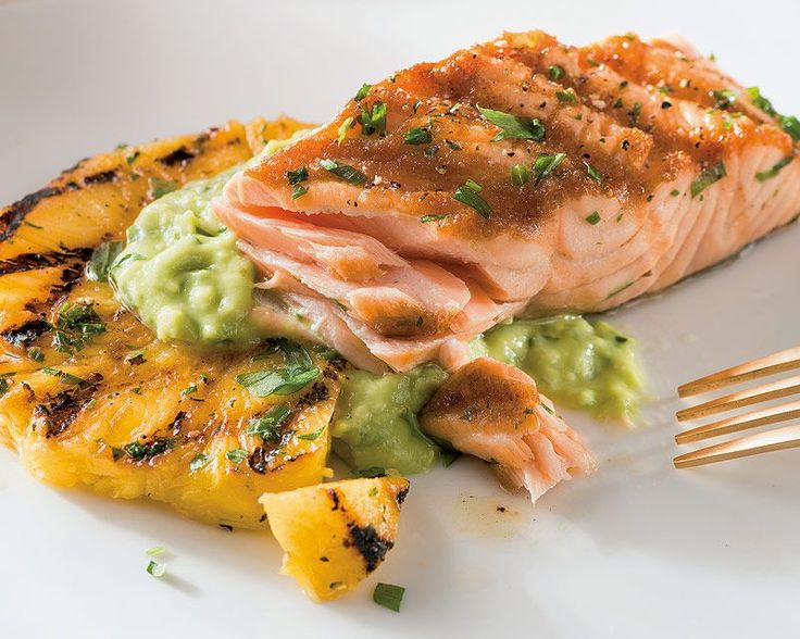 Grilled Salmon and Pineapple with Avocado Dressing