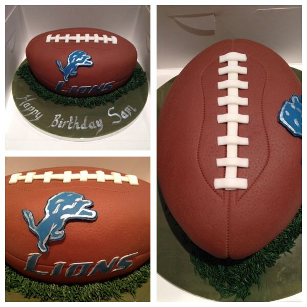 American football Detroit Lions cake - Lizzies Cake Factory
