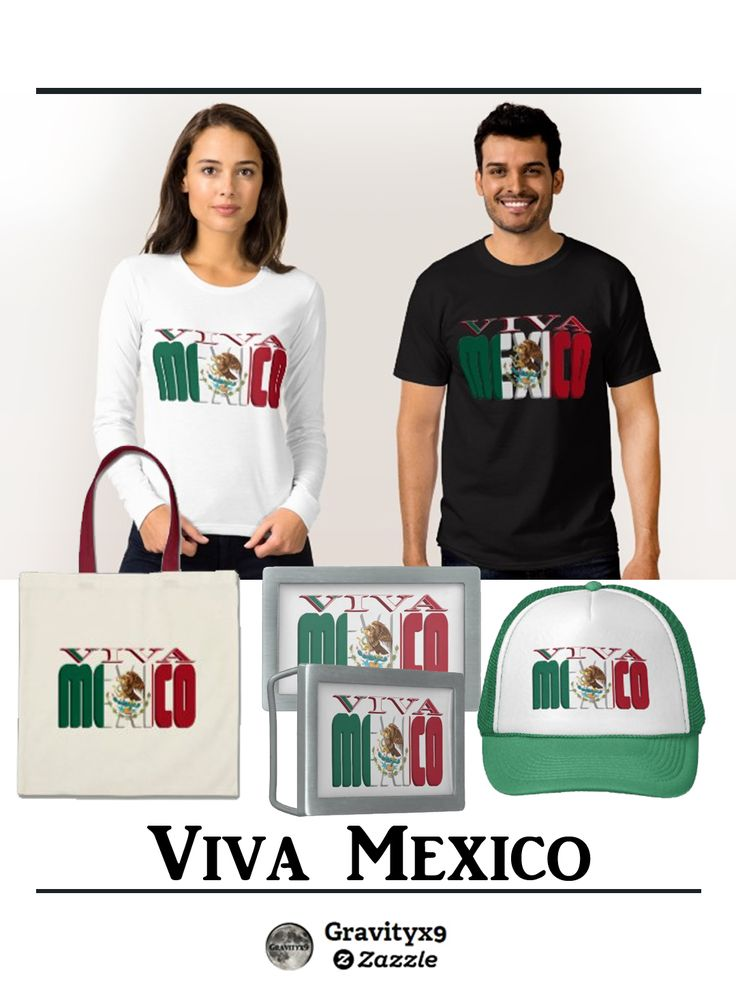VIVA MEXICO - Mexican flag colors on bold text . Click through for fashion, accessories, mugs & more at Zazzle by Gravityx9 Designs.