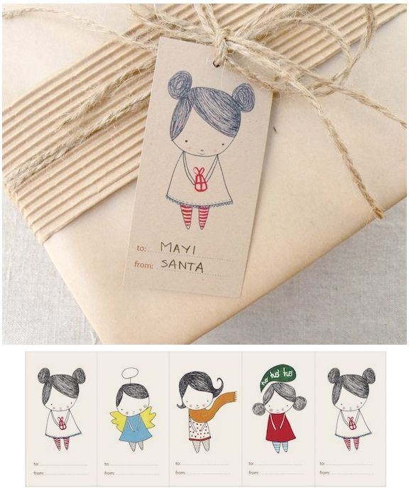 Free printable gift tags. #gift #wrapping #packaging #string #twine #tags #girl #drawing
