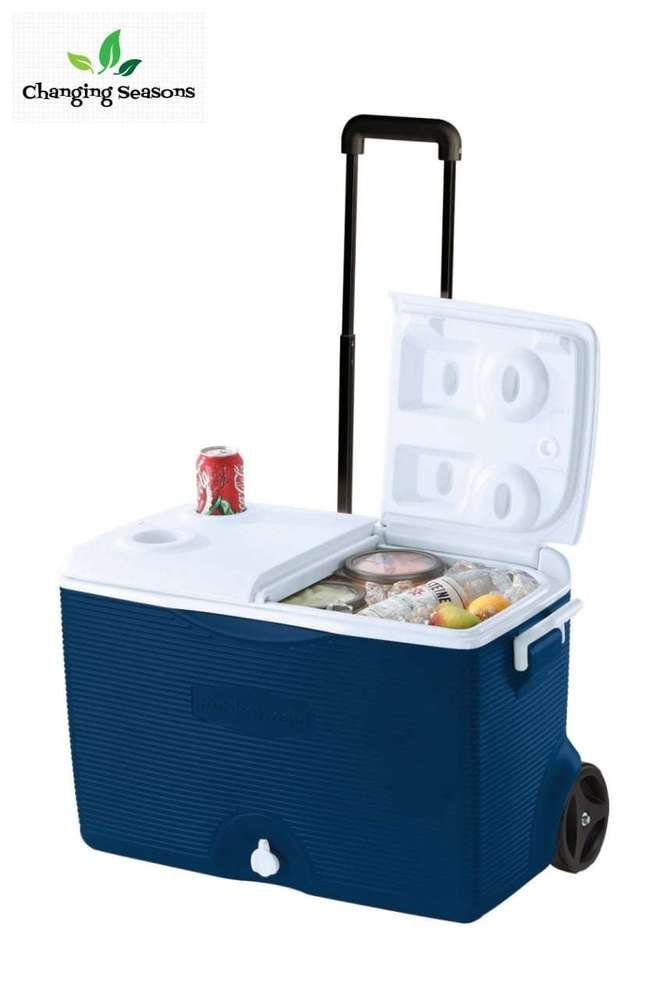 Ice Chest Cooler 60 Quart Rolling Portable Beverage Container Keep Cold Drinks #Rubbermaid