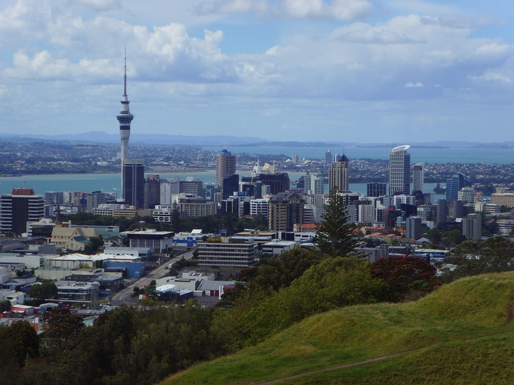 the city of Auckland , taken from mount eden in New Zealand