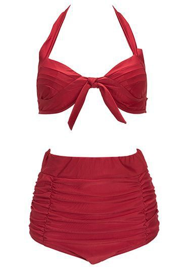 Red High Waist Open Back Two Piece Swimwear on sale only US$27.23 now, buy cheap Red High Waist Open Back Two Piece Swimwear at lulugal.com